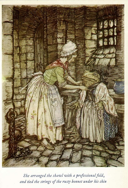 Mr Toad is being dressed in women's clothing. He wears a blue spotted dress with apron and shawl over it. A taller, young woman puts a black bonnet on him. She is wearing a floral skirt, apron and red neckerchief with a white mob cap.