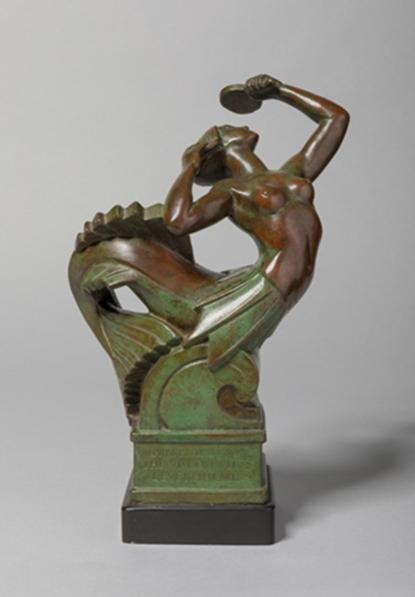 Bronze mermaid sculpture preening herself looking in a mirror about 25 cm's high by Herbert Tyson Smith (1883 - 1972)