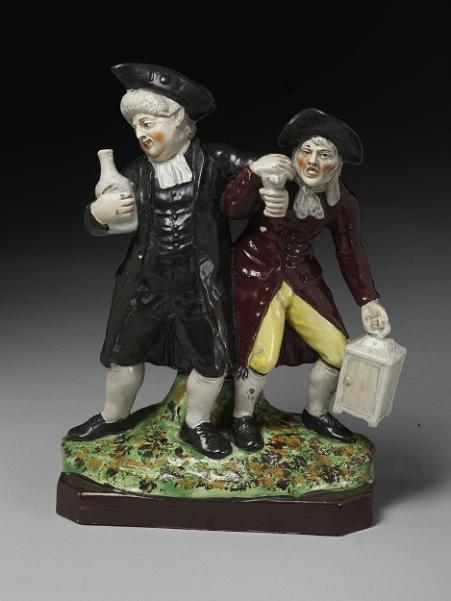 The Vicar and Moses in lead-glazed earthenware, c.1800  by Enoch Wood (©Victoria & Albert Museum, London)