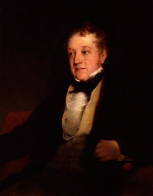 This is a three-quarter portrait of William Huskisson who sits in a chair turning towards his right. His left hand rests on the chair arm showing wedding ring. His black jacket is open revealing a buff-coloured waistcoat and a white ruffled shirt with a high wing collar. His neckerchief is black. His expression is amiable although he does not smile, and his short hair is swept forward towards his