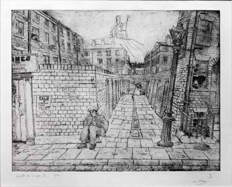 This is a black and white image of an alleyway between two rows of terraced buildings. A lamppost is to the right of the alley with part of a three-storey building behind it. On the left-hand corner of the alley is a man sitting on the pavement against a wall He wears a hat, jacket, trousers and shoes. In the background is a tall building with a statue of Britannia on it.