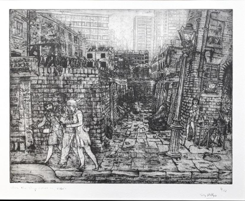 This is the alley in the 1960s. It is dirty and dark with a build-up of old discarded furniture. A man walks towards the left of the image with a young fashionable woman either side of him.  Another woman is sat on railings outside the house on the right of the alley and more figures are in the doorway. There is barbed wire coiled along the top of the wall and high-rise buildings in the distance
