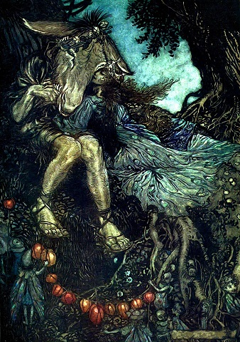 Queen Titania, with long brown hair and a crown, wearing a blue flowing dress cuddles up to a man named Bottom. He has a donkey's head and is bare legged. Small, fairy-like creatures are gathered round the bottom of the image.