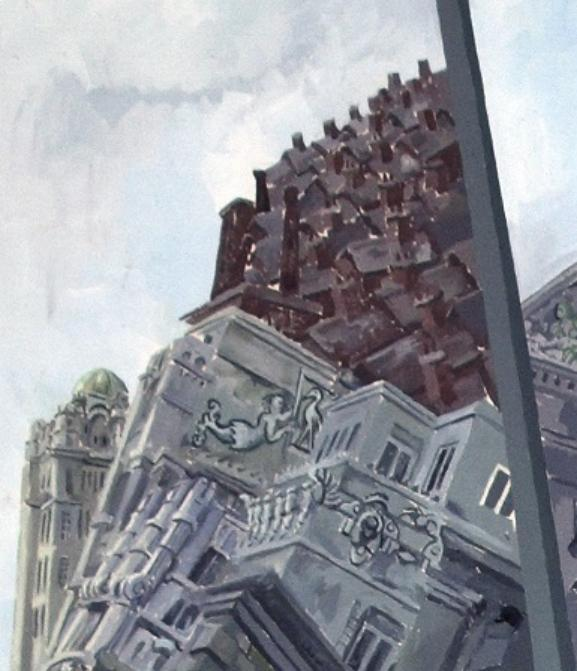 This is a detail from the top left corner of the painting above and shows grand, historic buildings with red brick buildings like terraced houses above them all in a jumble.