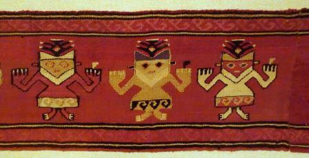 Mantle border fragment of funerary cloth with anthropomorphic feline figure