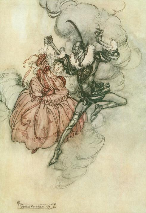 A couple wearing dress from the early 1700s. She is in pink silk with a white ruff collar and looks distressed. A devilish-looking man in black holds her hand up and seems to be jumping.