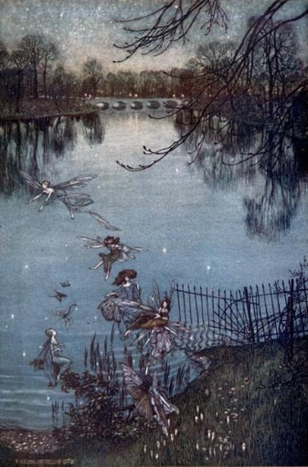 Seven fairies fly towards the bottom of the picture where there are railings. In the background is a lake surrounded by trees with a bridge across it.