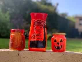 Create light up Halloween Jars from recycled materials