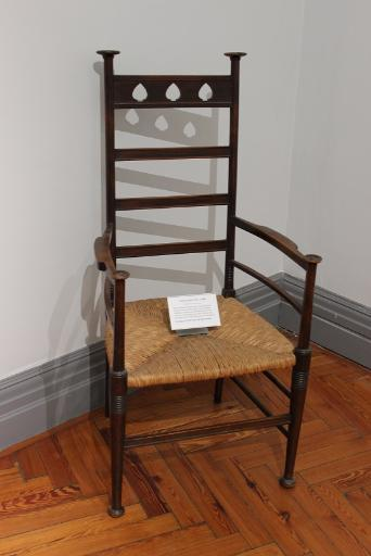 Arts & Crafts Chair, c.1900 (Birch with rush seat panel)