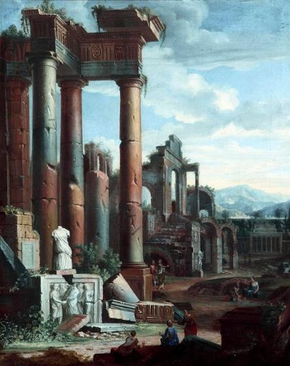 Classical Ruins (a pair) c.1750 Follower of Giovanni Paola Panini (1691 - 1765)