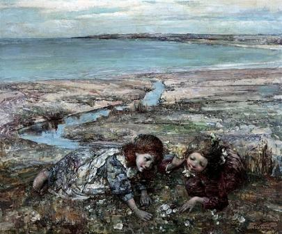 Two Girls on a Beach, 1912 By Edward Atkinson Hornel (1864 - 1933)