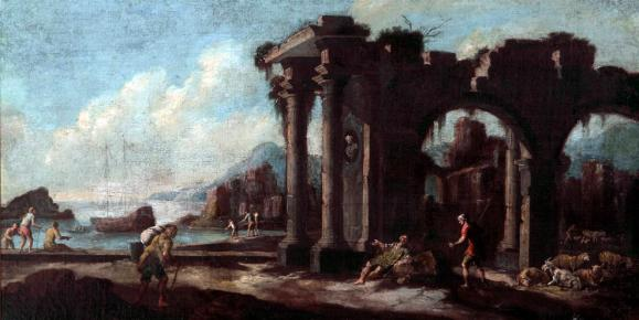 Landscape with Seaport and Ruins c.1650 Follower of Salvator Rosa (1615 - 73)