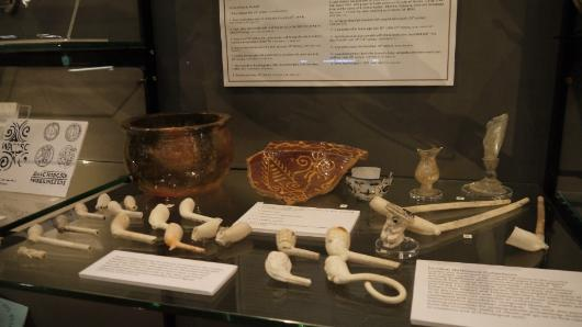 Some of the National Pipe Archive collection that is on display in the Tate Hall Museum, Victoria Gallery and Museum.