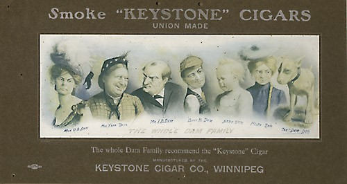 Keystone Cigars using the Whole Dam Family for advertising