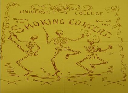 This image comes from one of the smoking concert programmes at University College Liverpool and depicts three smoking skeletons which has more of a poignant relevance for today's audience than it did in the 1890s