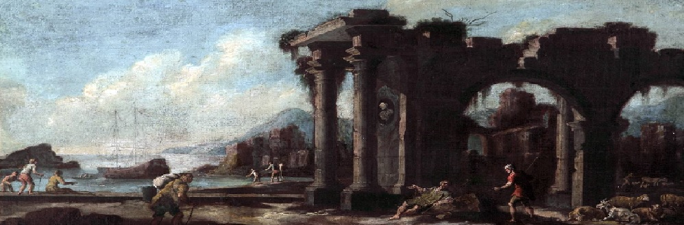 The Art of Ruin Display, Landscape with Seaport and Ruins, Follower of Salvator Rosa (1615 - 73)