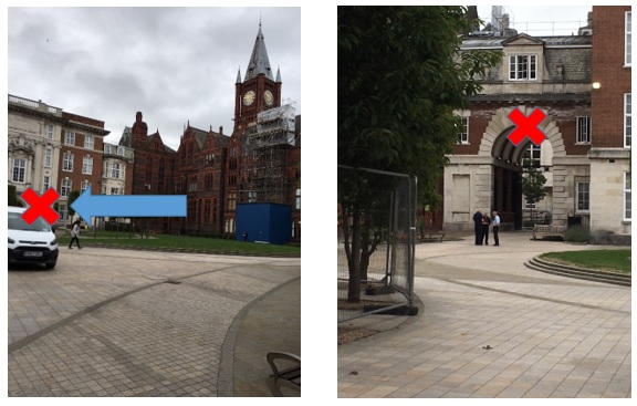 When out of the car, make your way over the quadrangle to the arch way in the top left hand corner