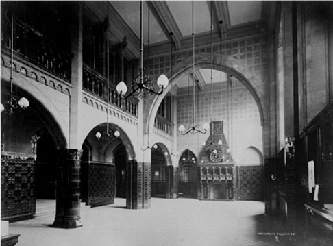 Ground floor of Victoria Building (circa 1892) showing the fireplace