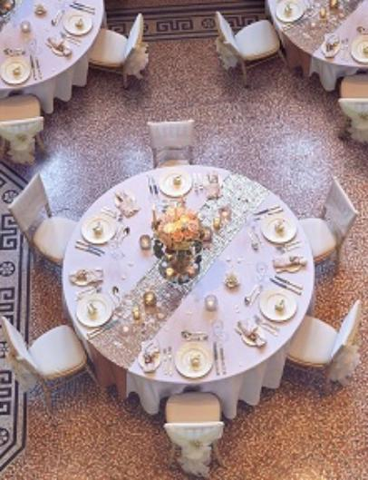 A table set up for a Wedding Breakfast at the VG&M