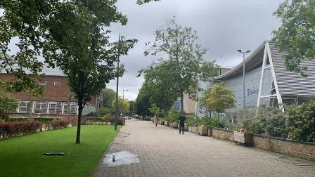 Walk down this road and pass the University of Liverpool Sports Centre which will also be on your right.