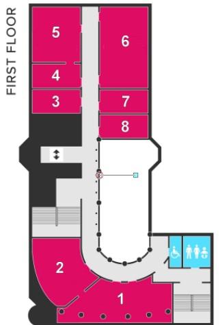 The VG&M first floor gallery plan (Galleries 1-8)