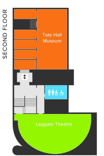 Second Floor plan showing Tate Hall Museum, Leggate Lecture Theatre and toilets