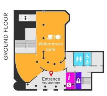 Ground Floor Plan showing cafe, toilets, shop and lockers