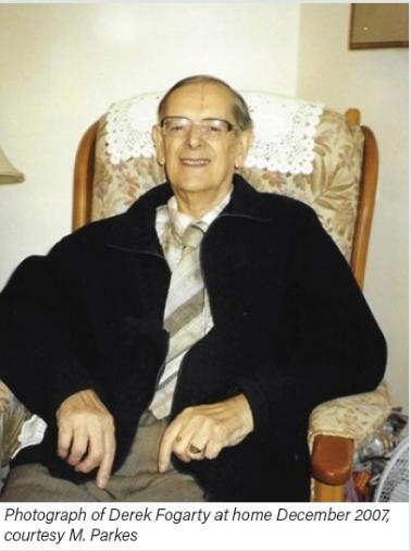 Photograph of Derek Fogarty at home December 2007, courtesy M. Parkes