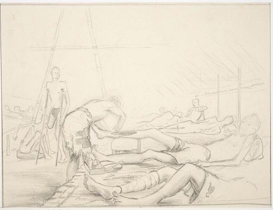 Worksheet 4 - Ulcer ward, Chungkai Hospital camp, Thailand 1943, by William Wilder, © A. Wilder