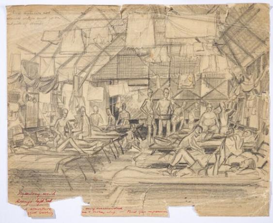 Worksheet 4- Sketch of Dysentery hut, Kranji POW camp Singapore, 1945 by W.G Norways, © courtesy of G.& T. Norways