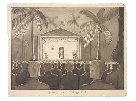 Coconut grove theatre, Singapore 1945, painted by Capt T. Wilson, © courtesy Wilson Family
