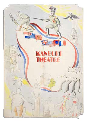 Kanburi theatre poster, Thailand 1945, by Lt F. Ransome-Smith, © N.Pearson