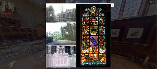 360 building tour screenshot showing the Stained Glass Window, ground floor
