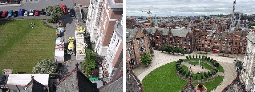 Quadrangle view from the Tower 2007 vs 2020